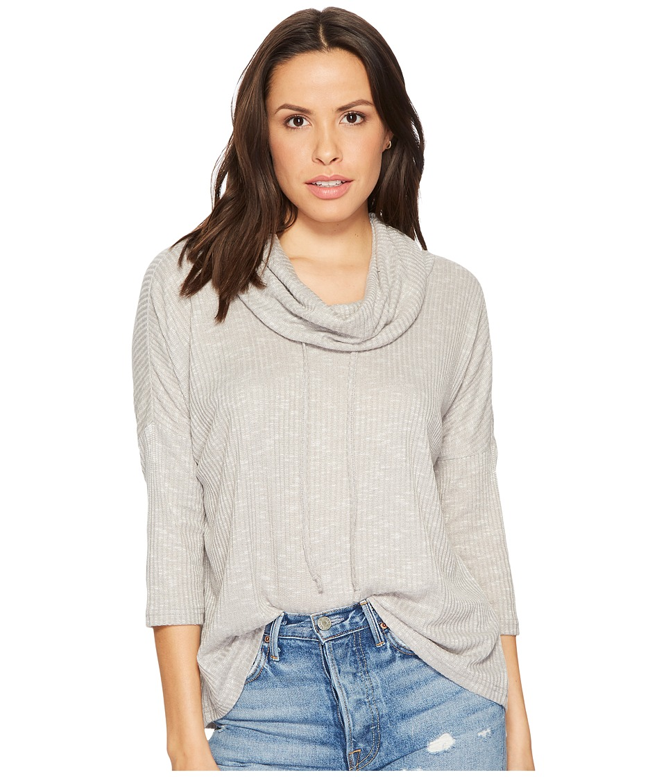 Jack by BB Dakota - Corray Rib Knit Scrunched Neck Top (Ghost Grey) Womens Clothing