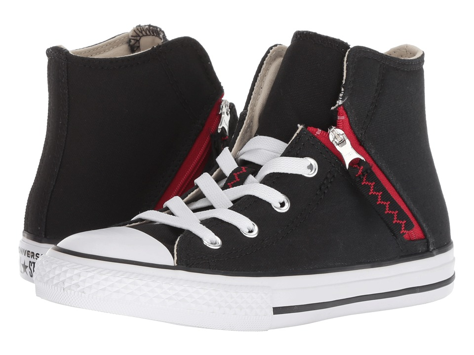 Converse Kids Chuck Taylor(r) All Star(r) Pull-Zip Hi (Little Kid/Big Kid) (Black/Enamel Red/White) Boys Shoes