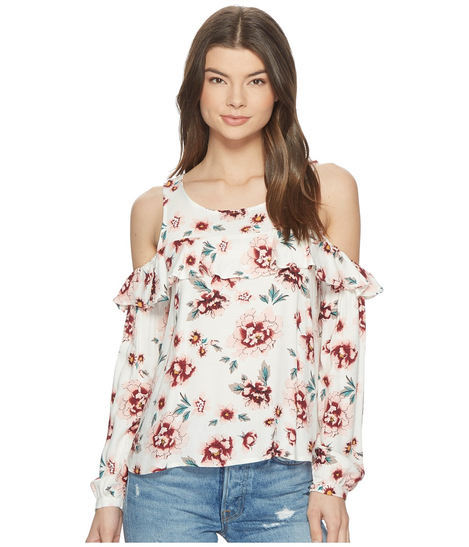 Jack by BB Dakota - Eugene Pretty Meadows Printed Cold Shoulder Top (Off-White) Womens Clothing