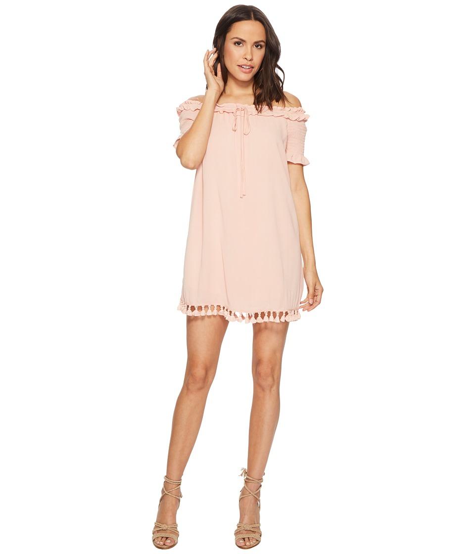 Jack by BB Dakota - Carnes Crinkle Rayon Off the Shoulder Dress (Dusty Rose) Womens Dress