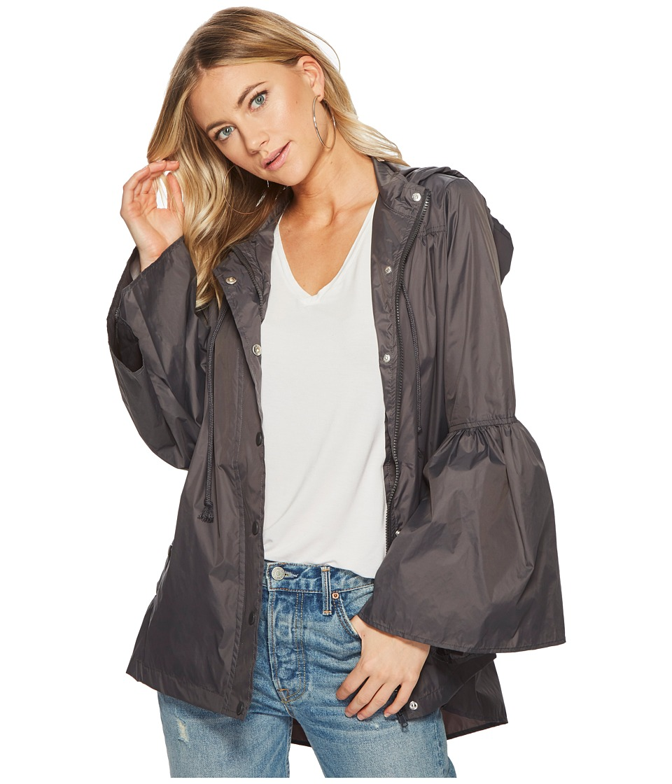 Jack by BB Dakota - Yael Rain Jacket with Bell Sleeves (Charcoal Grey) Womens Coat