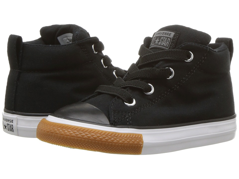 Converse Kids Chuck Taylor(r) All Star(r) Street Mid (Infant/Toddler) (Black/Black/White) Boy