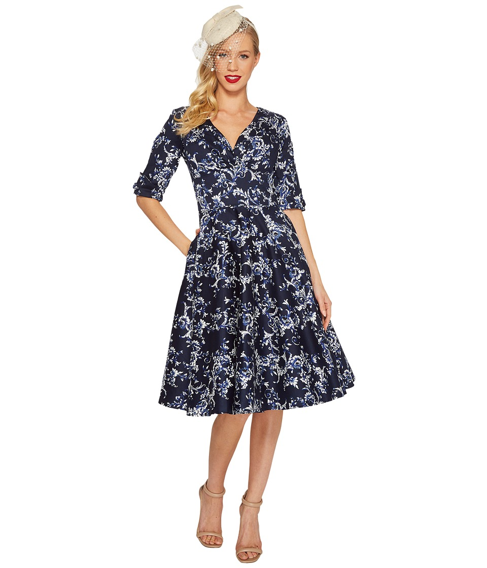 Unique Vintage - Delores Dress (Navy Floral) Womens Dress