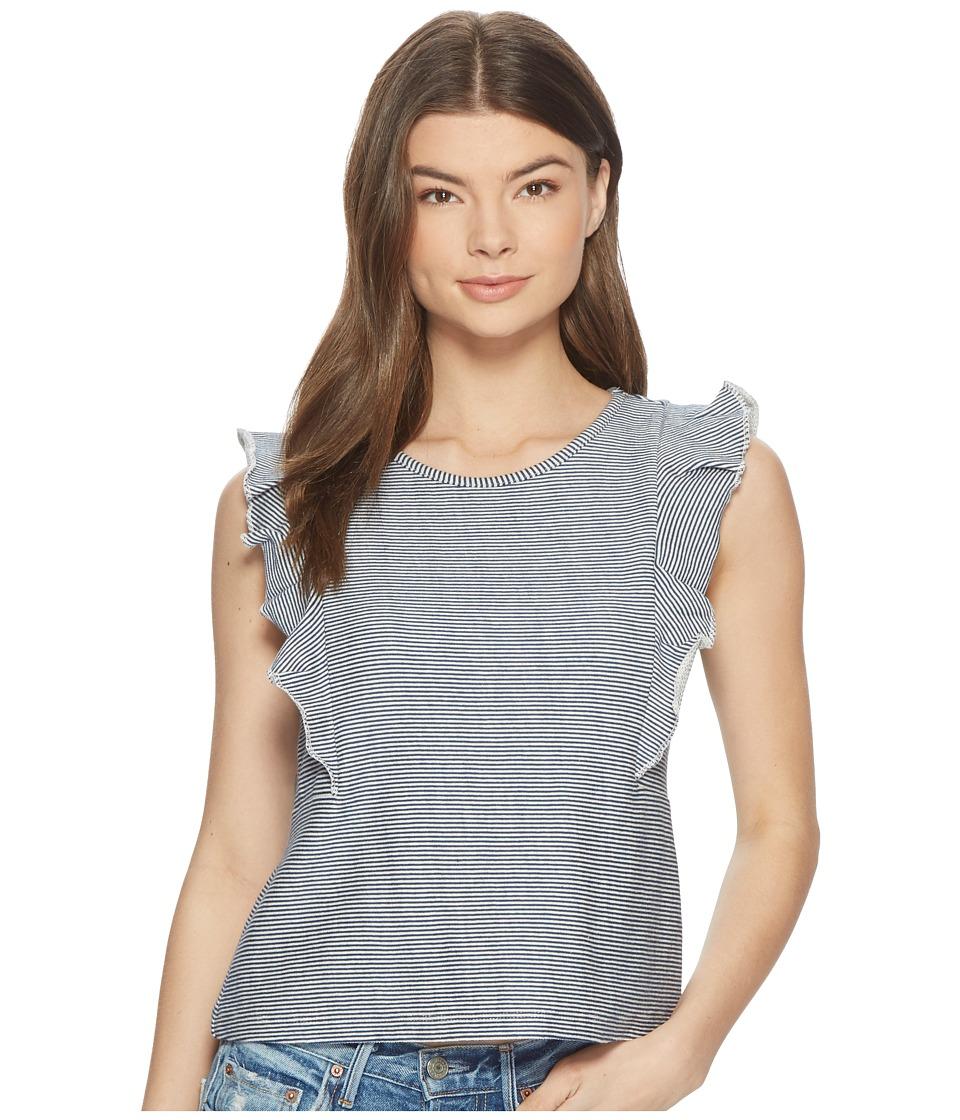 Jack by BB Dakota - Emin Striped French Terry Ruffle Top (Off-White) Womens Clothing