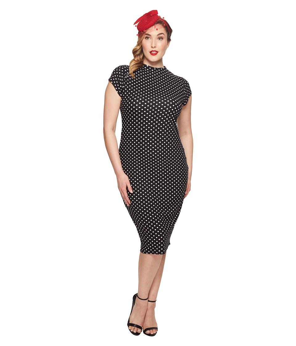 Unique Vintage - Plus Size Holly Wiggle Dress (Black/White Dots) Womens Dress