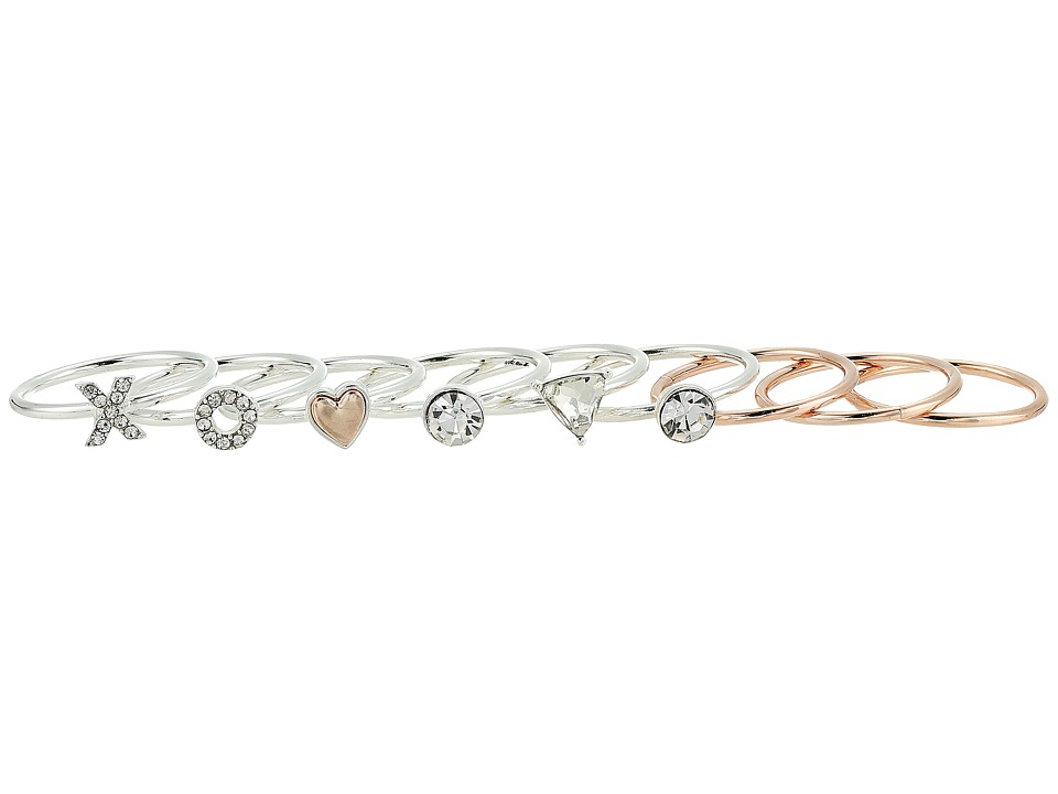 GUESS - Multi Piece Stack Ring Set (Silver/Rose Gold/Crystal) Ring