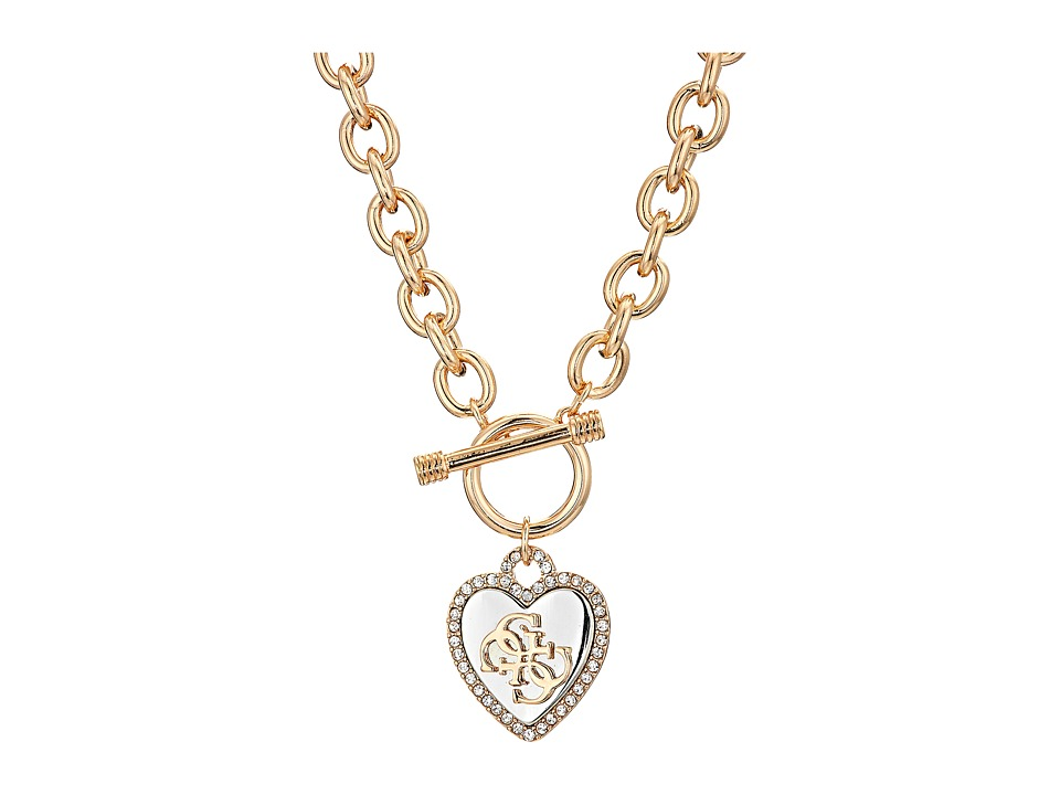 GUESS - Pave Framed Heart Toggle Necklace with 4 G Logo (Silver/Gold/Crystal) Necklace