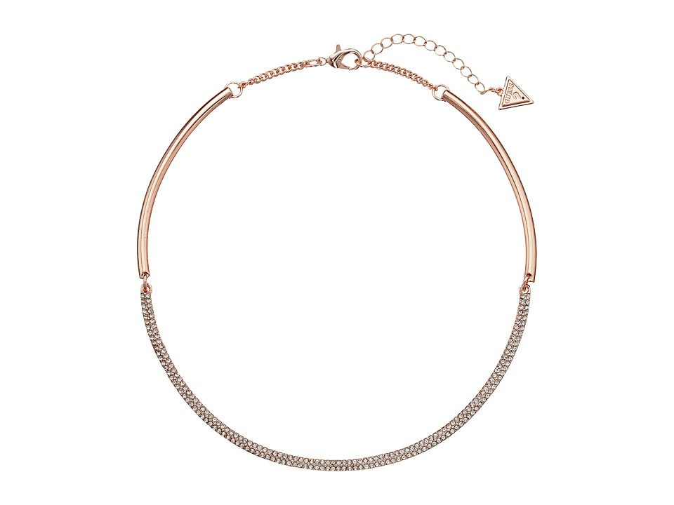 GUESS - Hinged Collar Necklace (Rose Gold/Crystal) Necklace