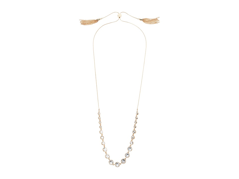GUESS - Slider Close Stone Front Necklace with Tassels (Gold/Crystal) Necklace