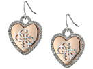GUESS Pave Framed Heart Drop Earrings