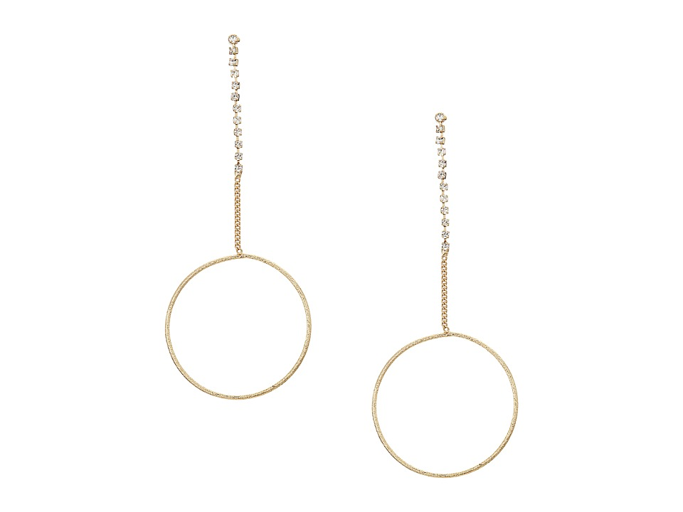 GUESS - Dainty Ring on Stone Chain Linear Earrings (Gold/Crystal) Earring