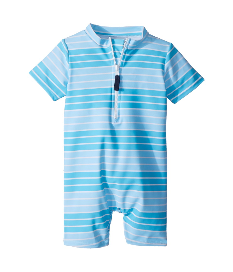 Toobydoo - Aqua Stripe Sunsuit (Infant/Toddler) (Blue) Boys Jumpsuit & Rompers One Piece