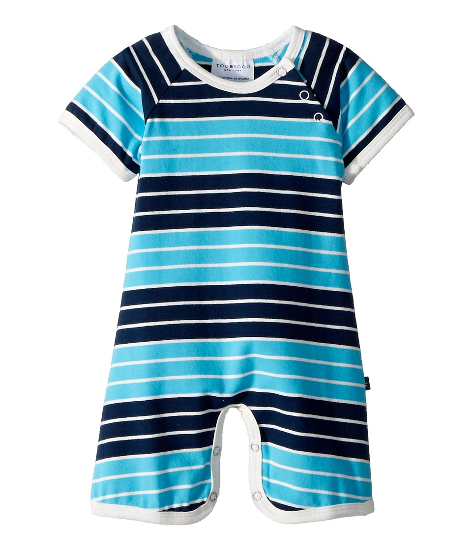 Toobydoo - On The Beach Stripe Shortie Jumpsuit (Infant) (Blue/Navy) Boys Jumpsuit & Rompers One Piece