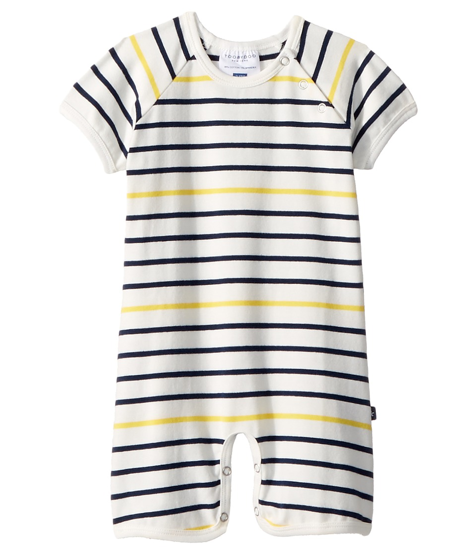 Toobydoo - Sunshine Stripe Shortie Jumpsuit (Infant) (Yellow/Navy) Boys Jumpsuit & Rompers One Piece