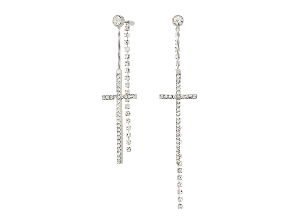 GUESS - Pave Cross Front Back Earrings (Silver/Crystal) Earring