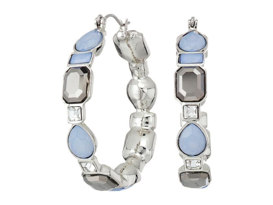 GUESS - Stone Hoop Earrings (Silver/Blue/White Opal) Earring