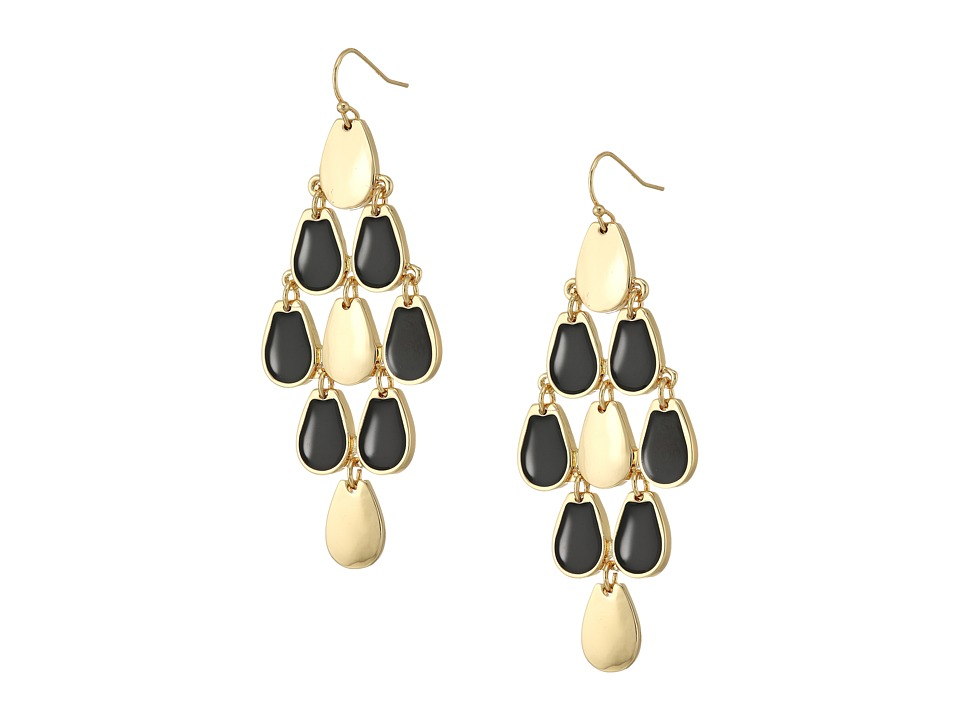 GUESS - Kite Shaped Drop Earrings on Wire (Gold/Black) Earring