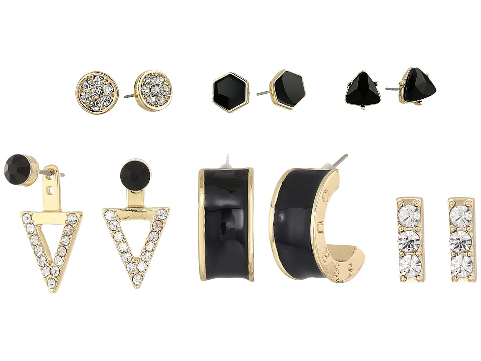 GUESS - 6 Mixed Earrings Set (Gold/Crystal/Black) Earring