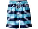 Toobydoo Navy Aqua Stripe Swim Shorts (Infant/Toddler/Little Kids/Big Kids)