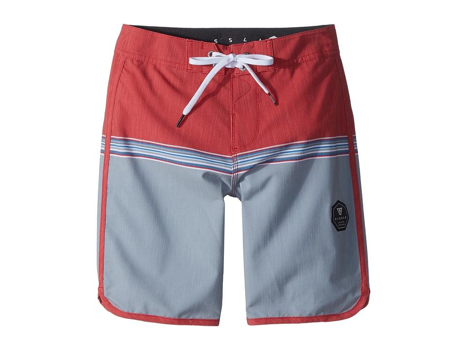 VISSLA Kids Dredges 4-Way Stretch Boardshorts 17 (Big Kids) (Red Bolt) Boy