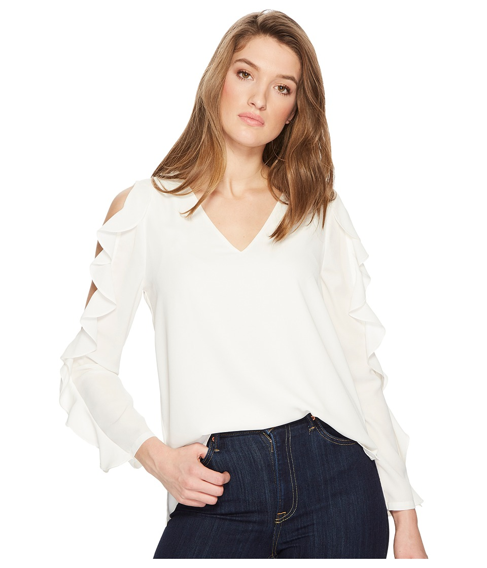 1.STATE - V-Neck Cold Shoulder Blouse with Ruffles