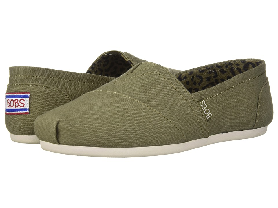 BOBS from SKECHERS Bobs Plush - Peace and Love (Olive) Women's Shoes