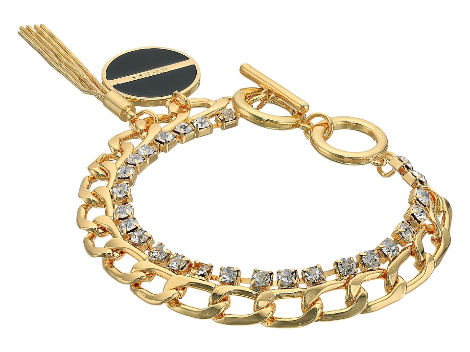 GUESS - Double Chain Link Toggle Bracelet with Charm and Tassel (Gold/Crystal/Black) Bracelet