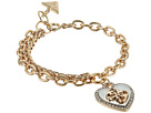 GUESS Pave Framed Heart Charm Bracelet with 4 G Logo