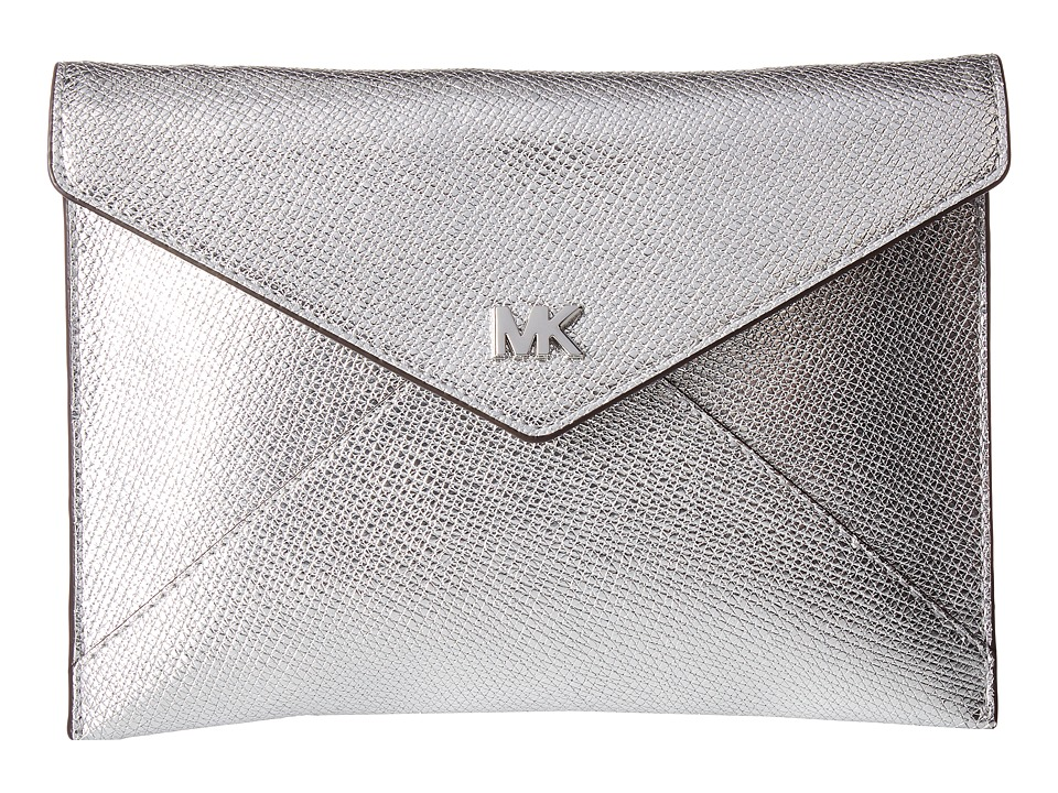 Michael Kors Barbara Medium Soft Envelope Clutch (Silver)...