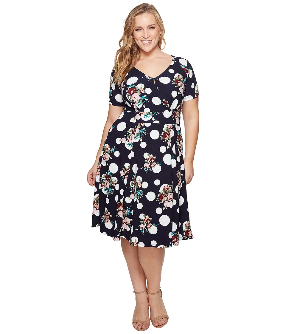 KARI LYN - Plus Size Stephanie Fit and Flare Dress (Navy/Multi) Womens Dress