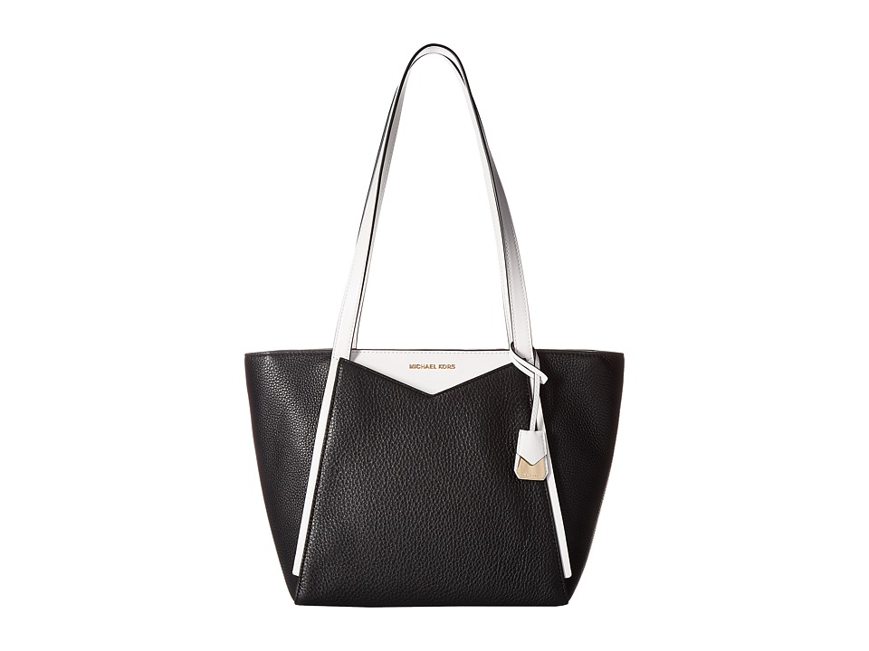 Michael Kors Whitney Small Top Zip Tote (Black/Optic Whit...