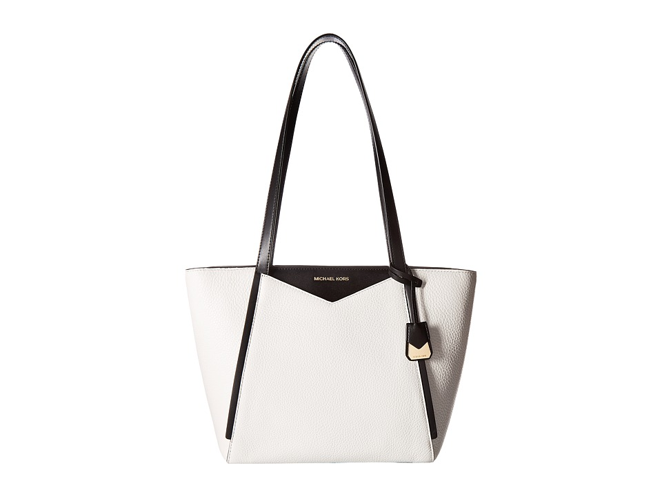 Michael Kors Whitney Small Top Zip Tote (Optic White/Blac...