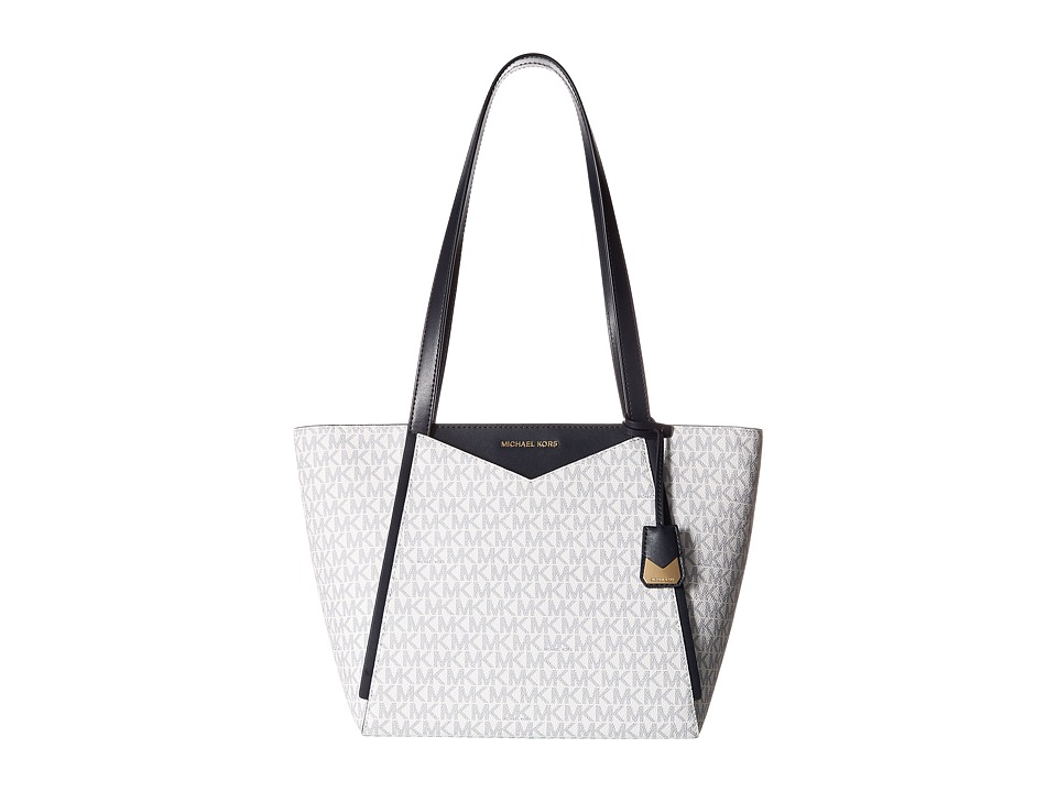 Michael Kors Whitney Small Top Zip Tote (White/Navy) Tote...