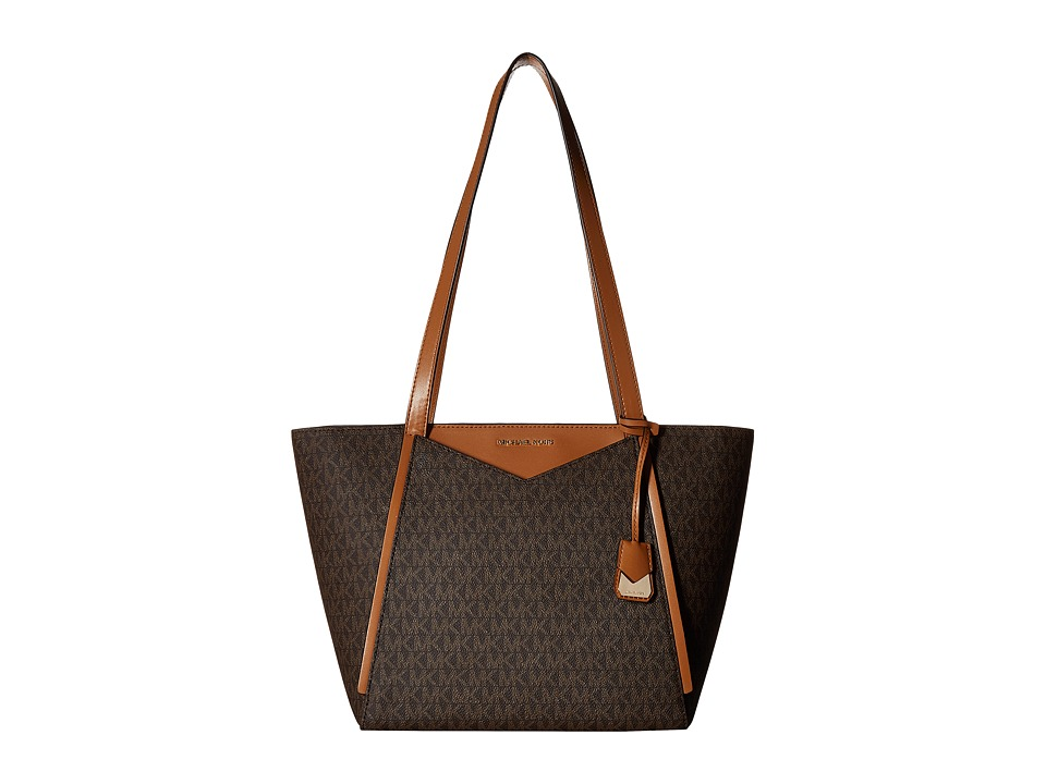 Michael Kors Whitney Small Top Zip Tote (Brown) Tote Hand...