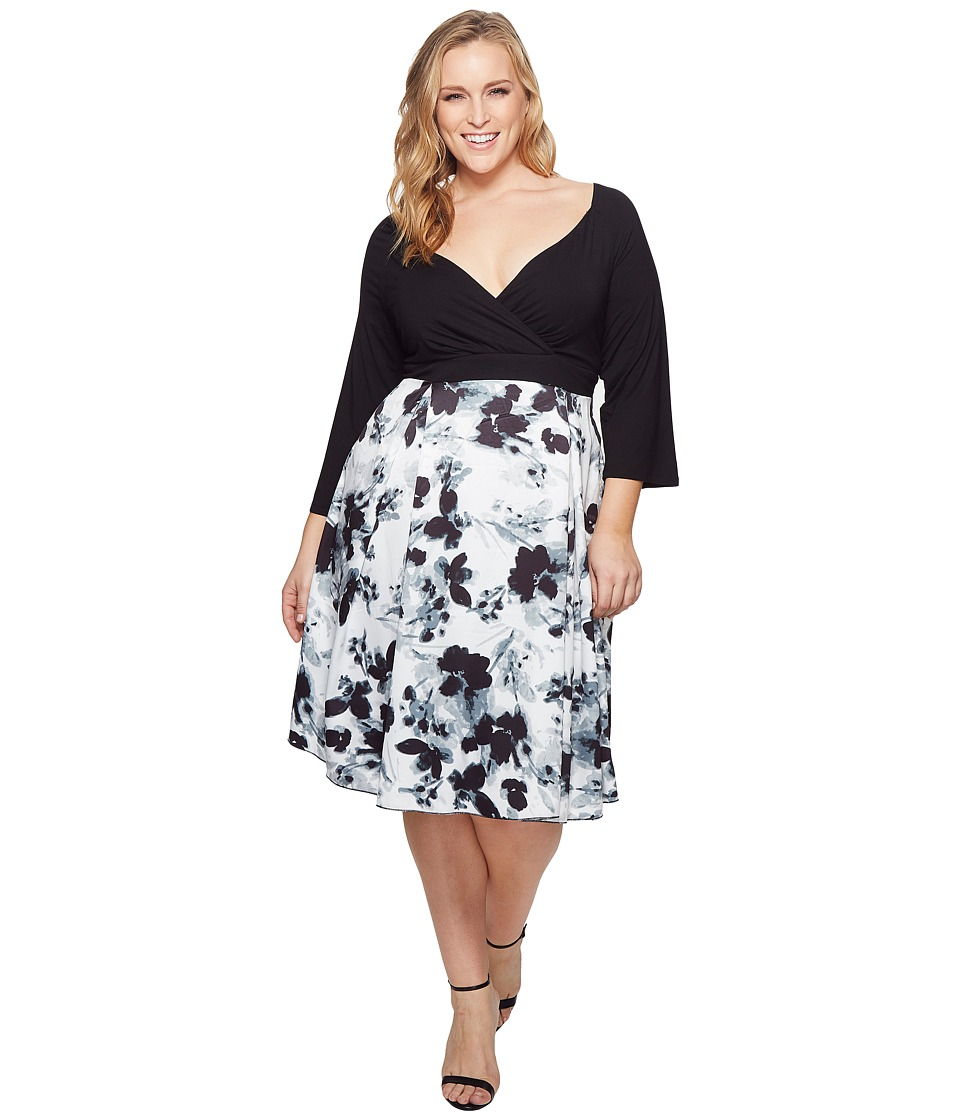 KARI LYN - Plus Size Callie Dress (Black/White) Womens Dress