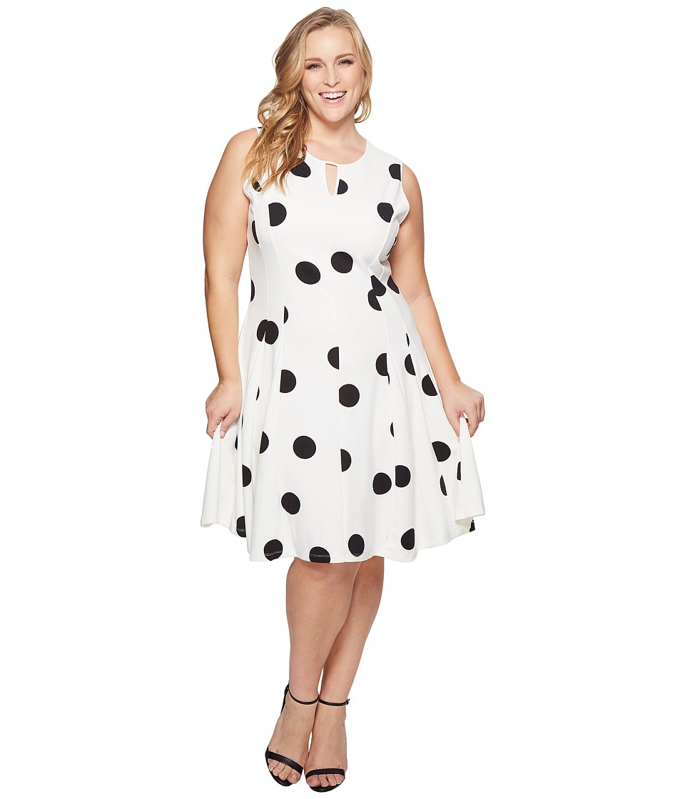 KARI LYN - Plus Size Peyton Sleeveless Dress (White/Black) Womens Dress