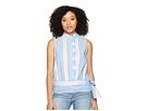 Vince Camuto Sleeveless Ruffle Front Tie Waist Yarn-Dyed Stripe Shirt
