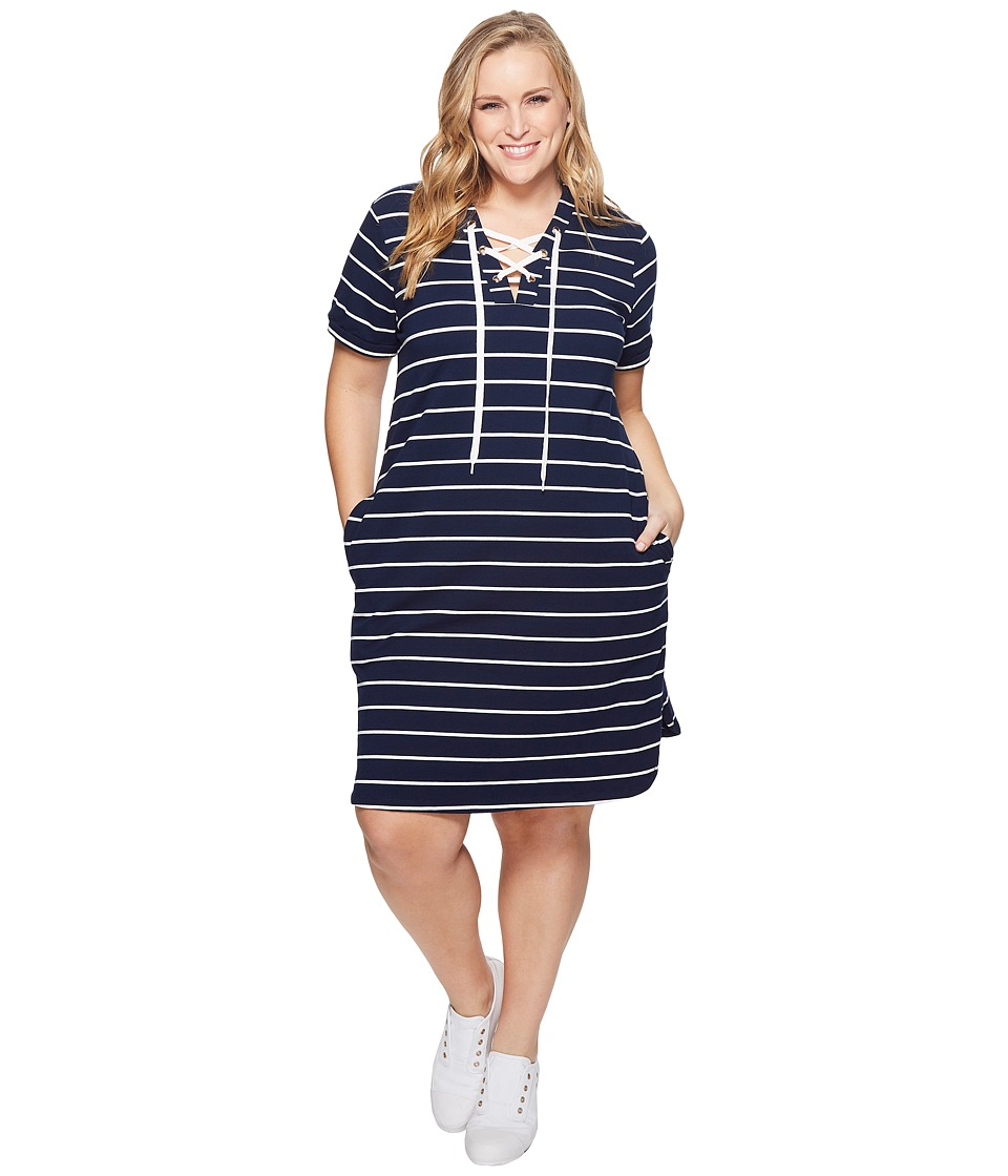 KARI LYN - Plus Size Cassidy Lace-Up Dress (Navy/White) Womens Dress
