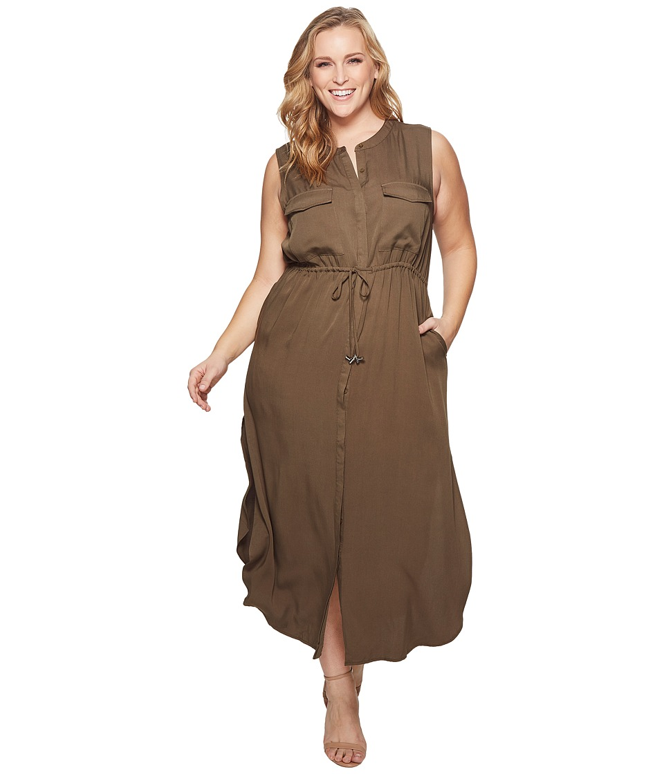 KARI LYN - Plus Size London Cargo Dress (Olive) Womens Dress