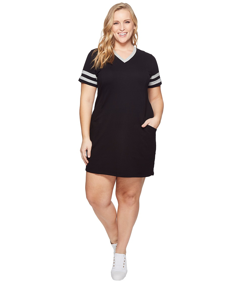KARI LYN - Plus Size Sadie V-Neck Dress (Black/Heather Grey) Womens Dress