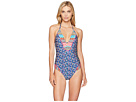 Laundry by Shelli Segal Patchwork Floral Plunge One-Piece