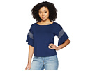 Vince Camuto Vince Camuto Drop Shoulder Smocked Ruffle Sleeve Top
