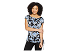 Vince Camuto Side Drawstring Woodblock Floral Tee