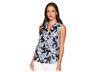 Vince Camuto Sleeveless Exotic Woodblock Floral V-Neck Blouse