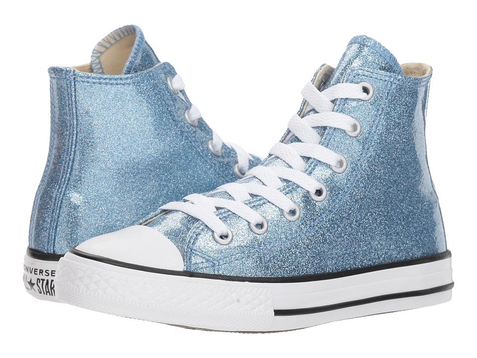 Converse Kids Chuck Taylor(r) All Star(r) Glitter Hi (Little Kid/Big Kid) (Light Blue/Natural/White) Girl