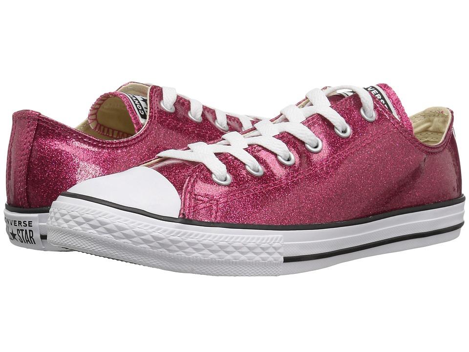 Converse Kids Chuck Taylor(r) All Star(r) Glitter Ox (Little Kid/Big Kid) (Pink Pop/Natural/White) Girl