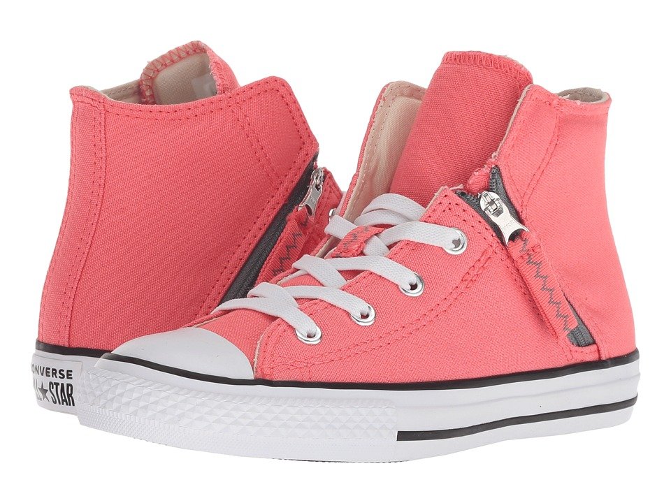 Converse Kids Chuck Taylor(r) All Star(r) Pull-Zip Hi (Little Kid/Big Kid) (Punch Coral/Cool Grey/White) Girl