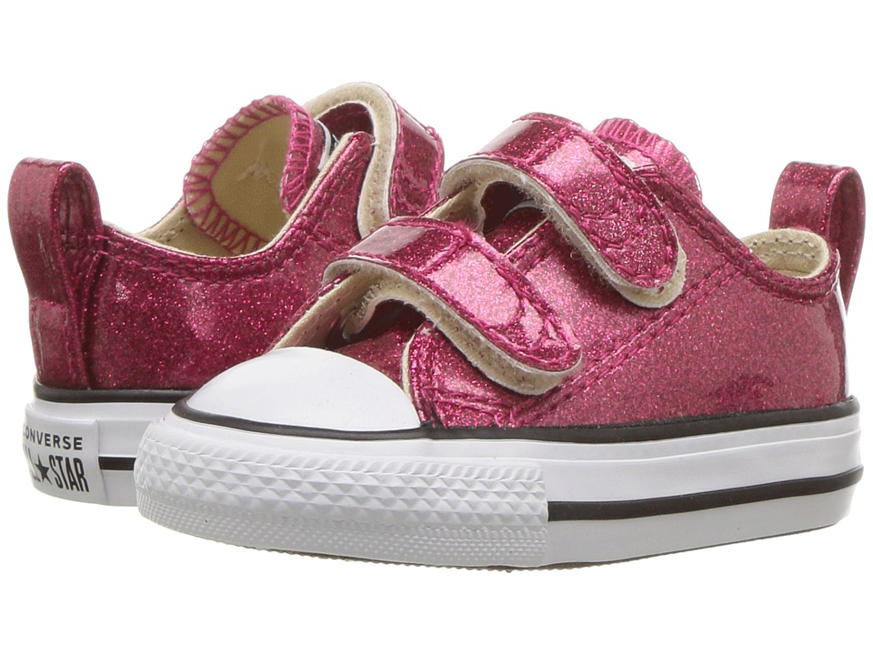 Converse Kids Chuck Taylor(r) All Star(r) 2V Ox (Infant/Toddler) (Pink Pop/Natural/White) Girls Shoes