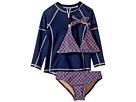 Toobydoo Toobydoo Navy Pink Pattern Bikini Navy Rashguard Set (Infant/Toddler/Little Kids/Big Kids)