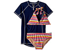 Toobydoo Toobydoo Sunshine Stripe Bikini Rashguard Set (Infant/Toddler/Little Kids/Big Kids)